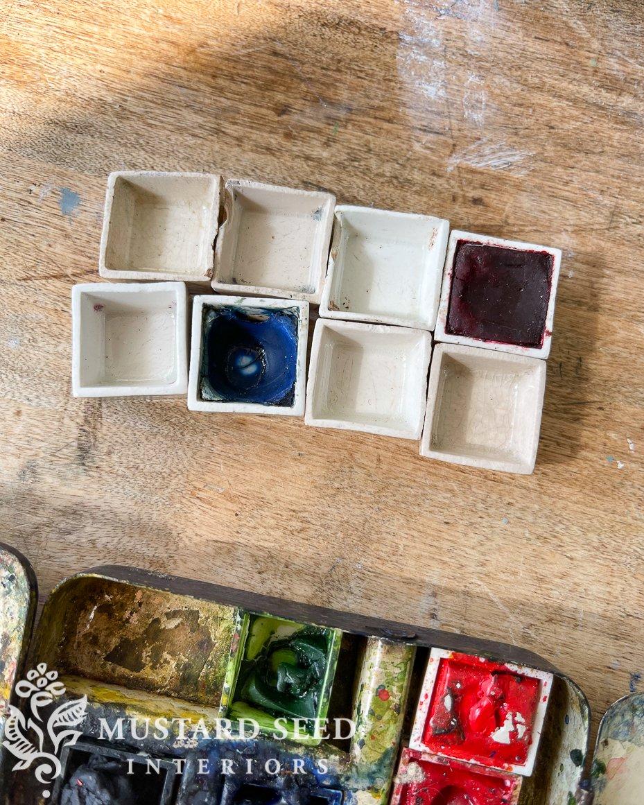 vintage reeves watercolor ceramic half pans | miss mustard seed
