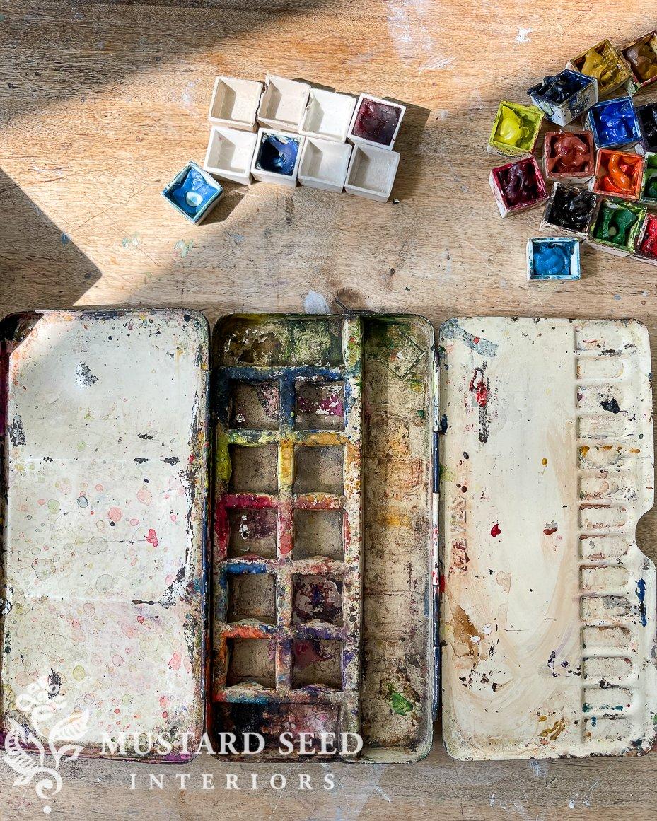 vintage reeves watercolor palette | miss mustard seed