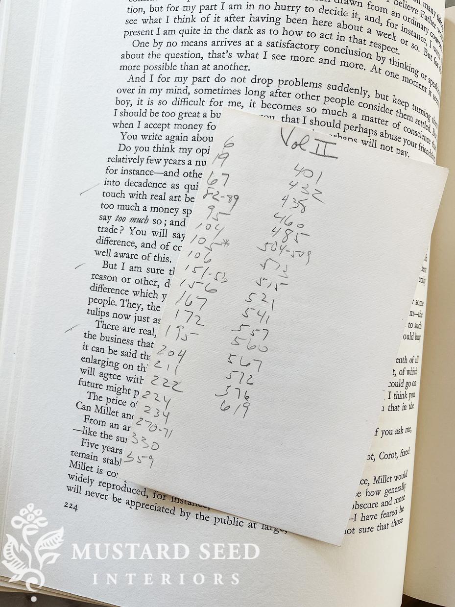 notes inside vintage Van Gogh books | miss mustard seed