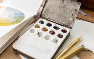 antique watercolor palettes
