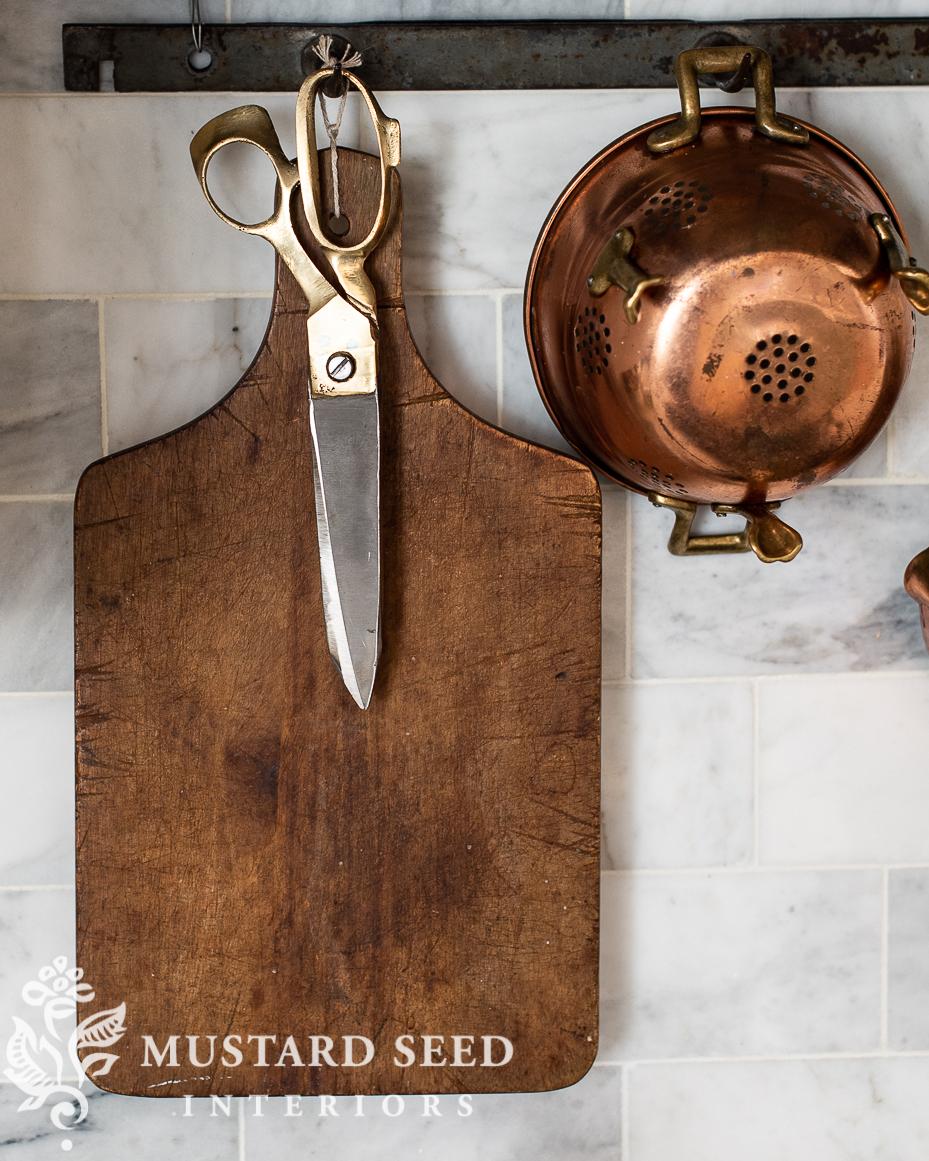 bass kitchen scissors | copped strainer | marble backsplash | miss mustard seed