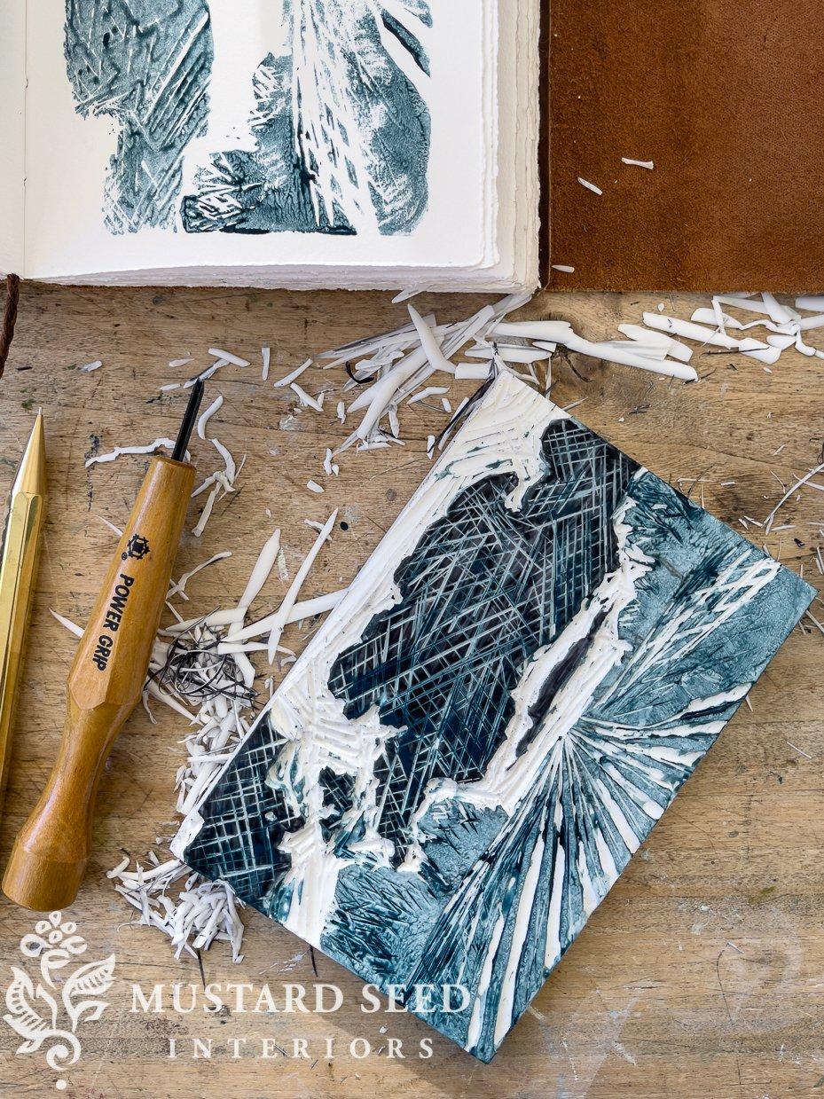 lino cutting & printing   creative play   miss mustard seed