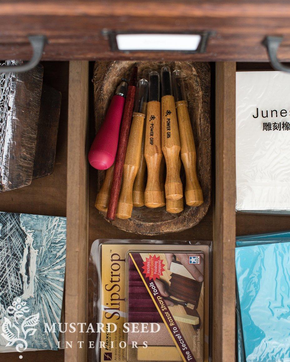 art studio   lino cutting & printing   creative play   miss mustard seed