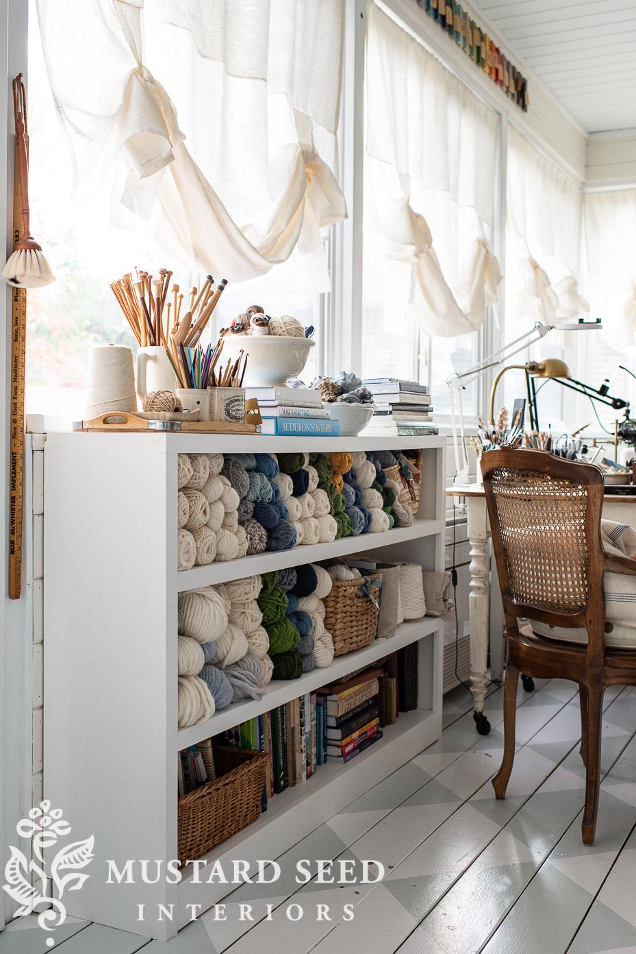 built-in shelves   yarn storage   art studio   miss mustard seed