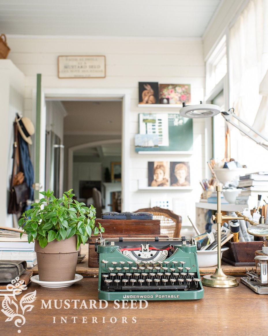 antique typewriter   art studio   miss mustard seed
