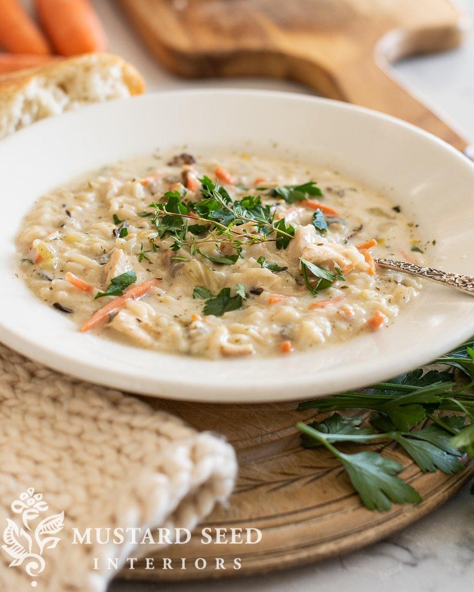 creamy chicken & wild rice soup recipe | miss mustard seed