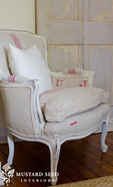 French Grain Sack Chair