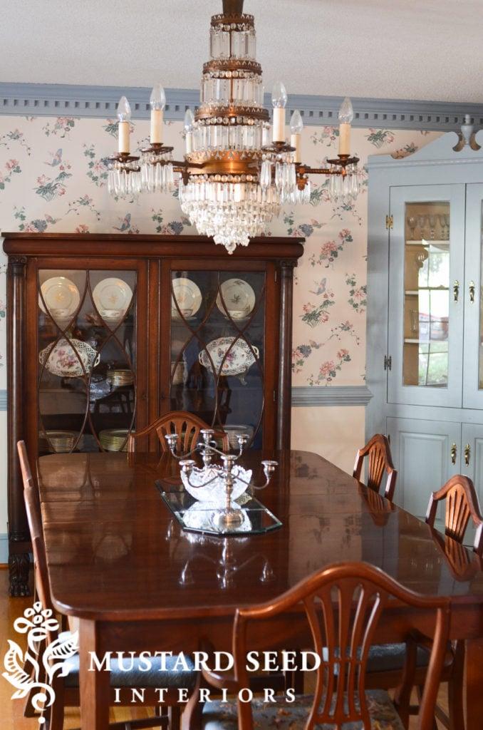 formal dining room   1800's chandelier   miss mustard seed