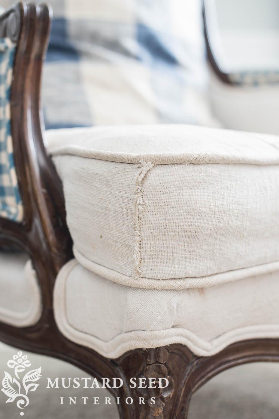 antique hemp sheet upholstery | miss mustard seed