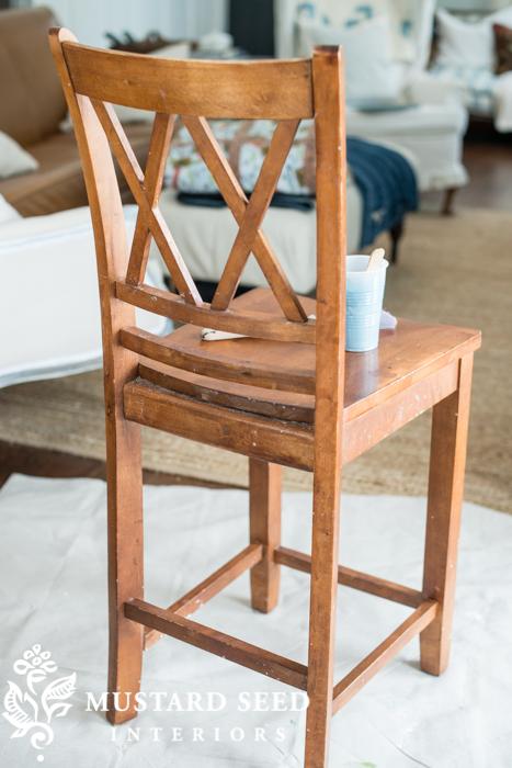 painting the last bar stool   finally - Miss Mustard Seed