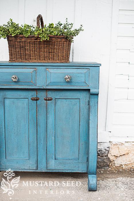 flow blue milk paint cabinet | miss mustard seed