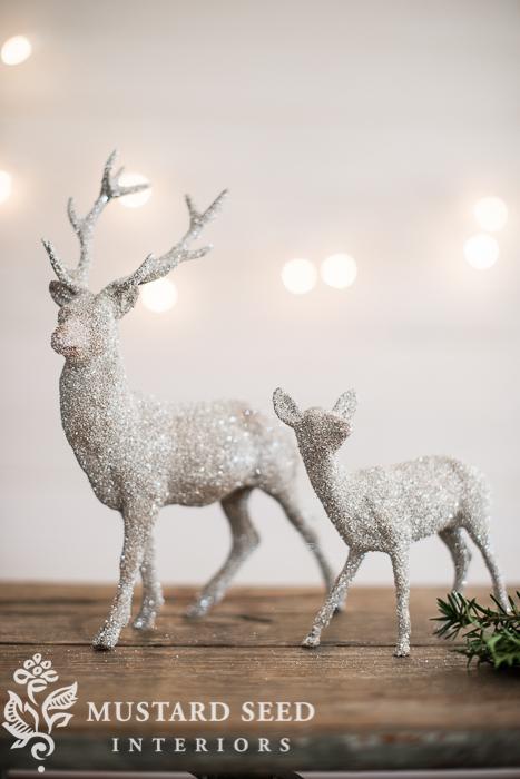glittered house & deer