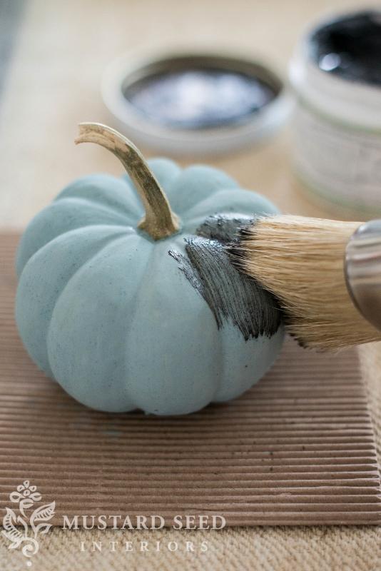 milk paint pumpkins | antiquing wax | fall decor | DIY | missmustardseed.com