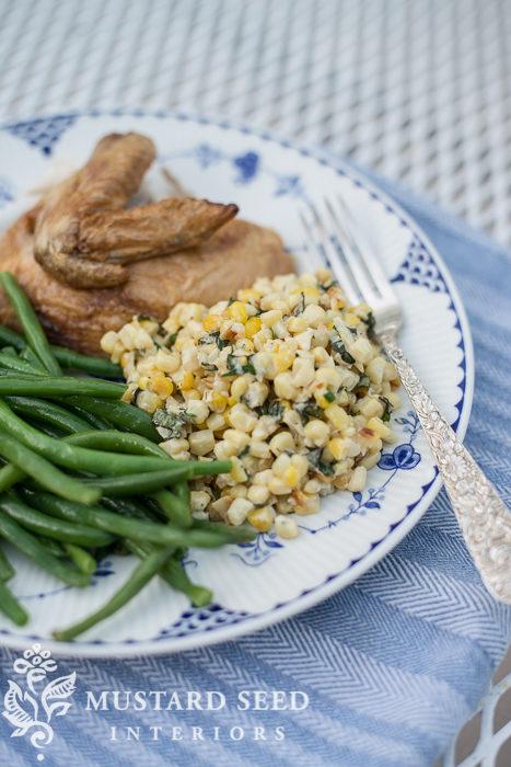 pecorino basil corn recipe | miss mustard seed