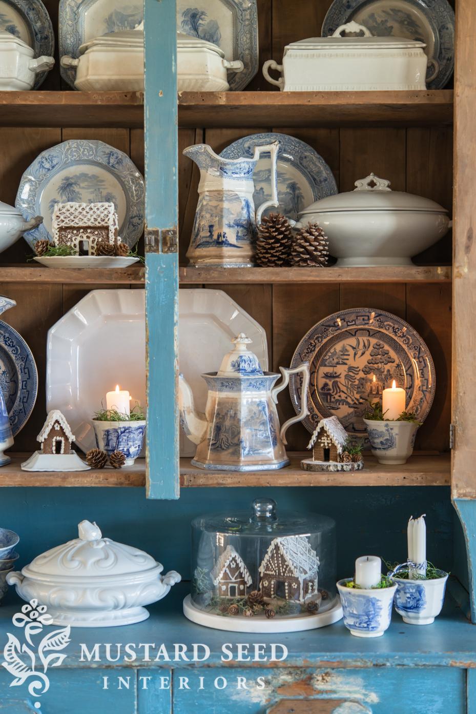 gingerbread houses | farmhouse hutch | fall family room decor | missmustardseed.com