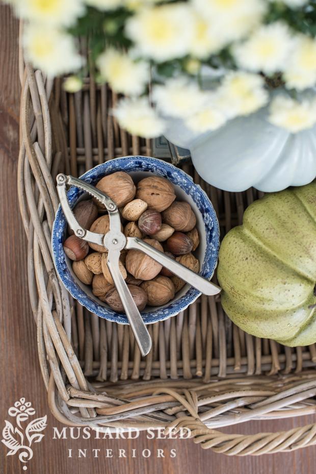 mixed nuts with nutcracker | fall family room decor | missmustardseed.com