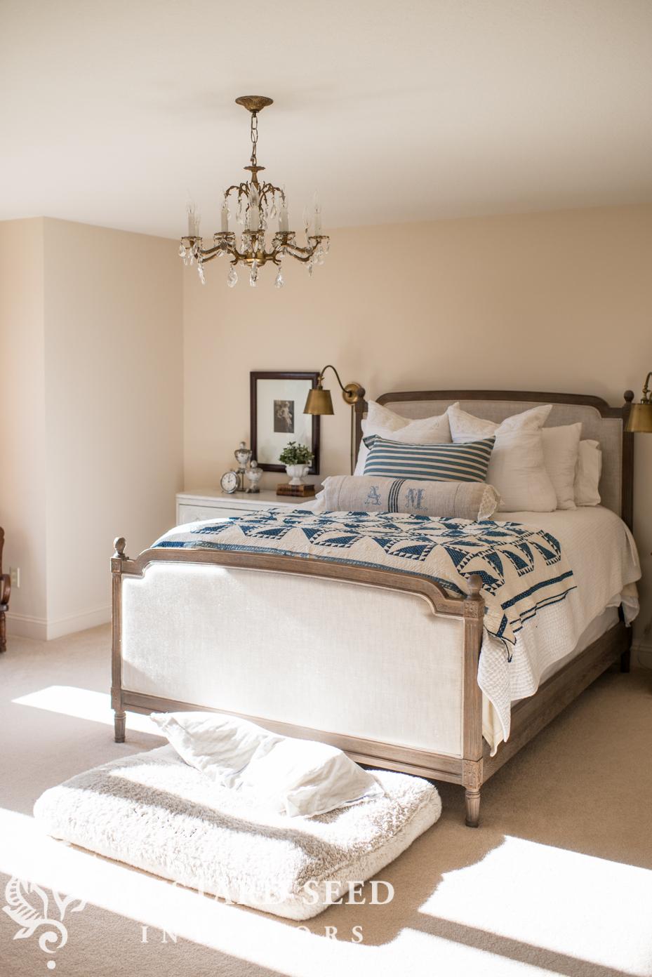 master bedroom fabric color furniture miss mustard seed. Black Bedroom Furniture Sets. Home Design Ideas