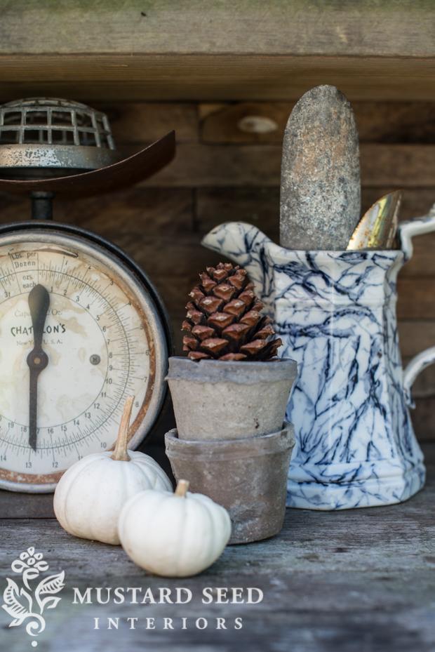 pumpkins and pinecones | farmhouse fall porch | missmustardseed.com