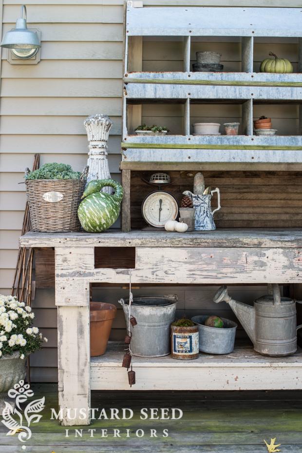 potting bench | pumpkins gourds |farmhouse fall porch | missmustardseed.com
