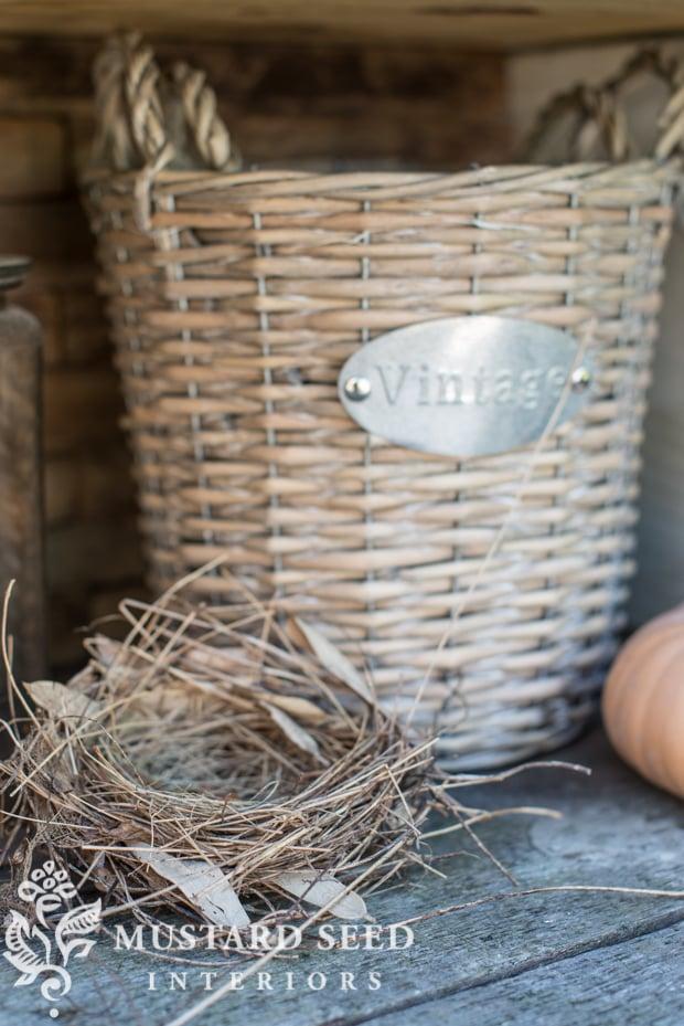 bird nest decorating | farmhouse fall porch | missmustardseed.com