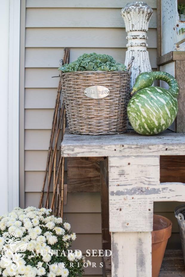 ornamental cabbage| gooseneck gourd | farmhouse fall porch | missmustardseed.com