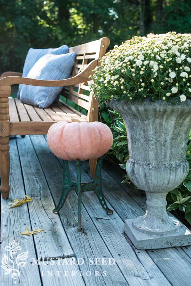 mums in planter| pumpkin stand | farmhouse fall porch | missmustardseed.com