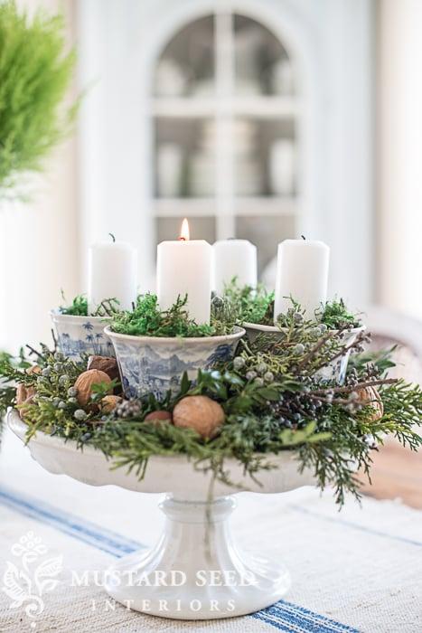 teacup & pedestal advent wreath | DIY Christmas decorations | missmustardseed.com
