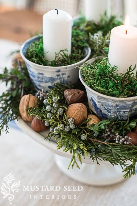 teacup & pedestal advent wreath | juniper berries | missmustardseed.com