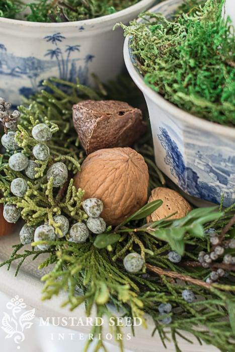 Christmas tablescape| moss, juniper and nuts | missmustardseed.com