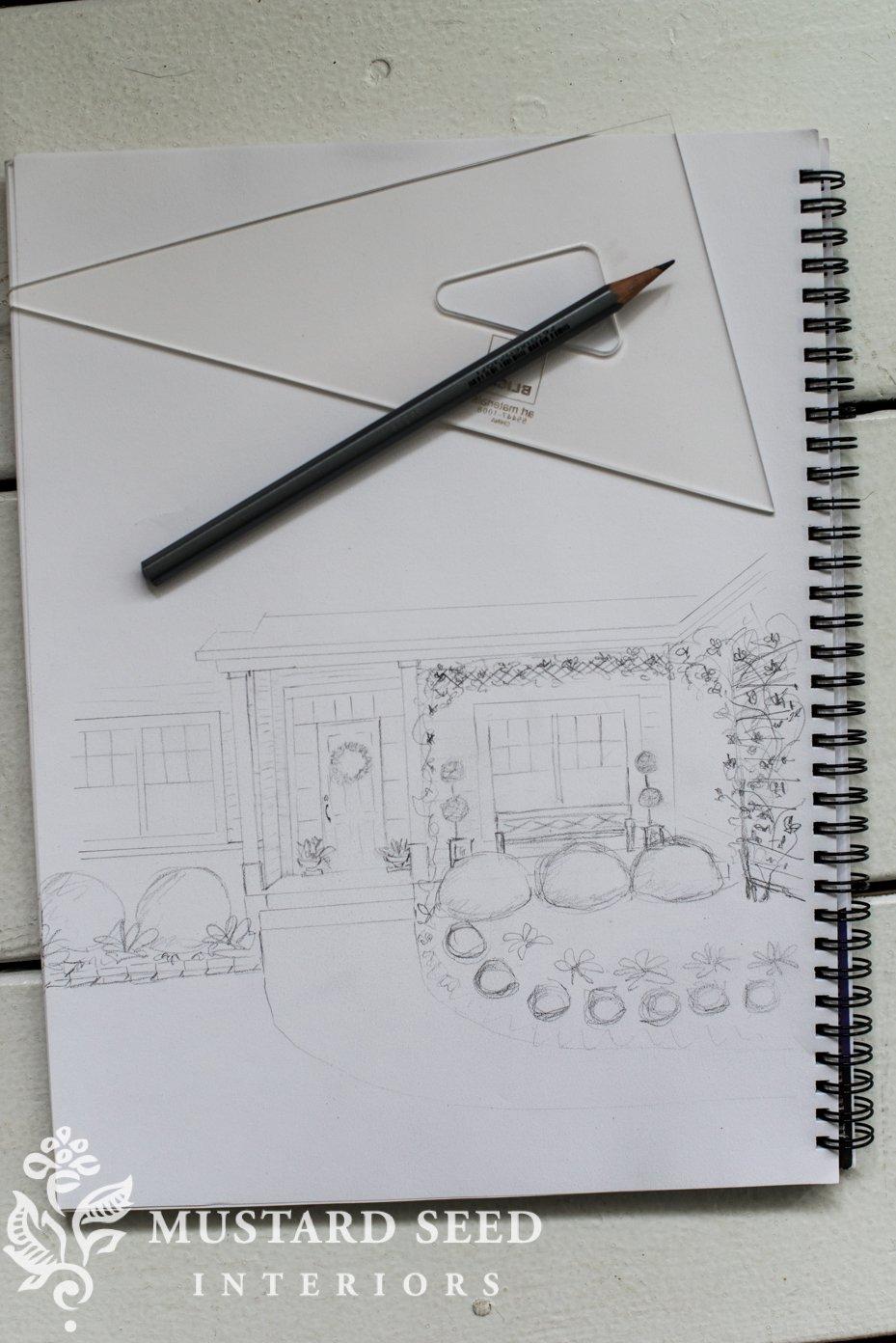 porch and garden sketch | miss mustard seed