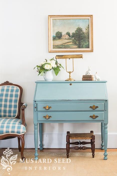 """swedish"" blue desk   miss mustard seed"