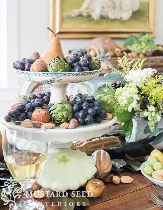 a harvest table, a dough bowl & succulent pumpkins