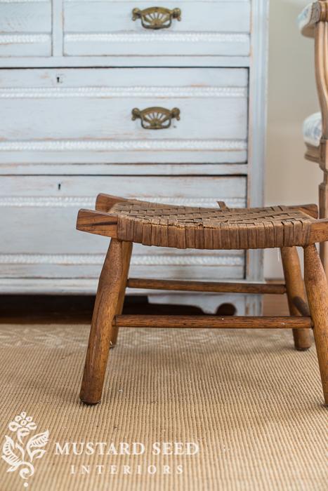 woven foot stool | miss mustard seed