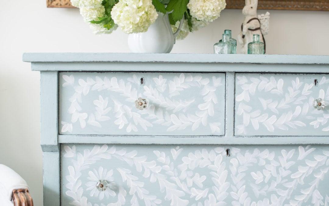 hand painted robin's egg blue dresser