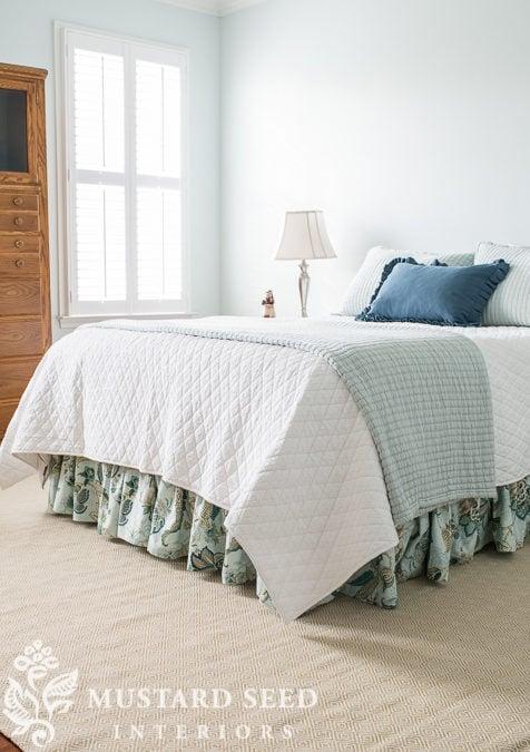kim's coastal bedroom | the bedskirt & built-ins