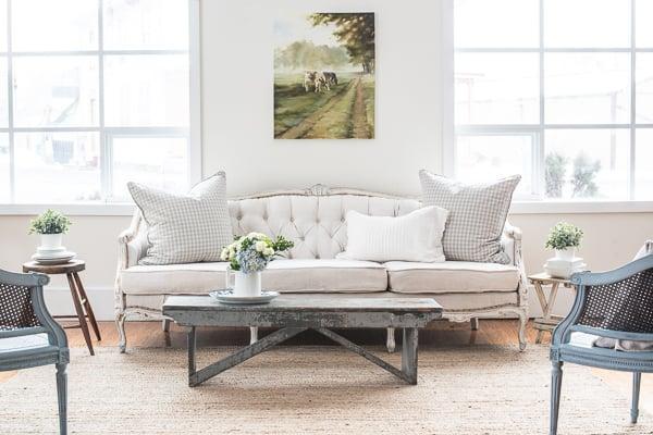 tufted farmhouse sofa reveal