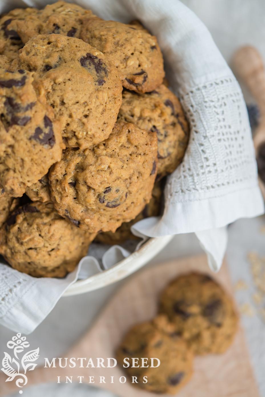 Fall Desserts | Pumpkin Oatmeal Chocolate Chip Cookies | missmustardseed.com