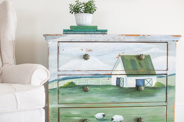 soft milk paint landscape dresser | reveal