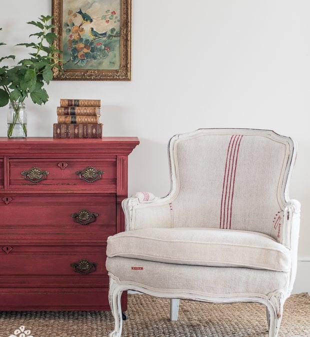red & white grain sack chair