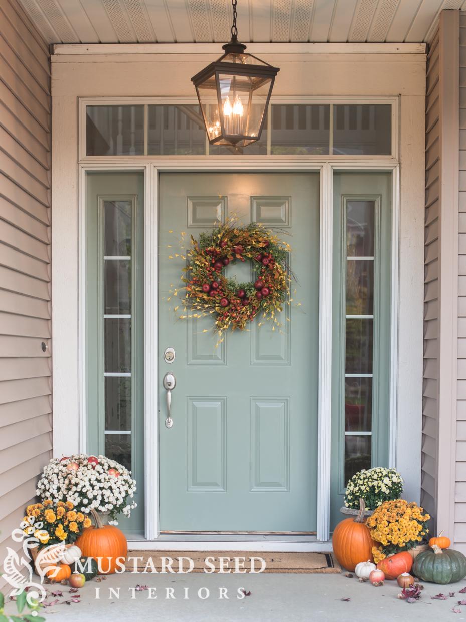decorating fall porch wreath | missmustardseed.com