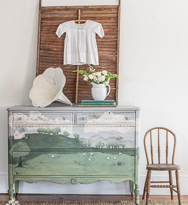 the hand painted landscape dresser