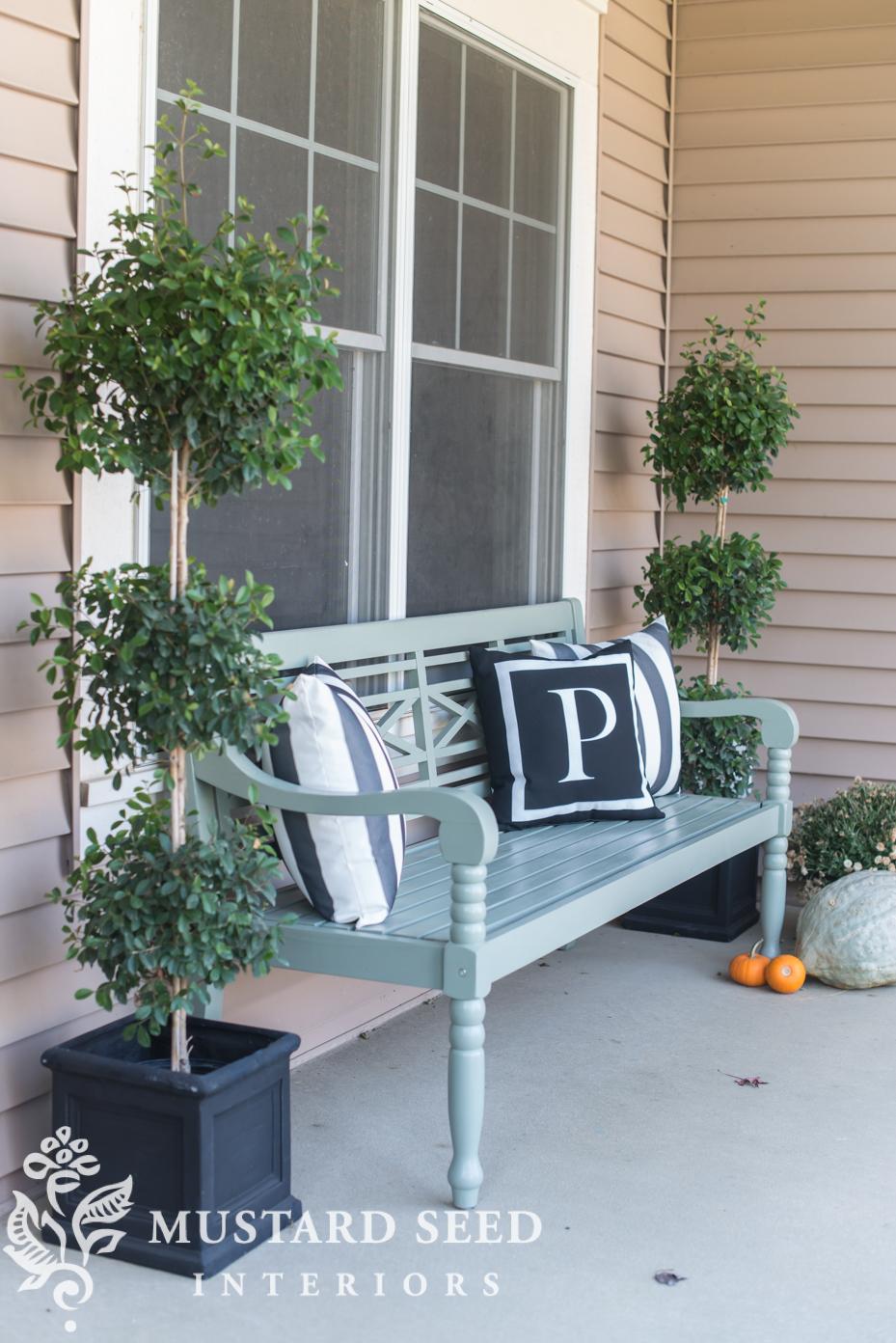 outdoor bench | decorating fall porch | missmustardseed.com