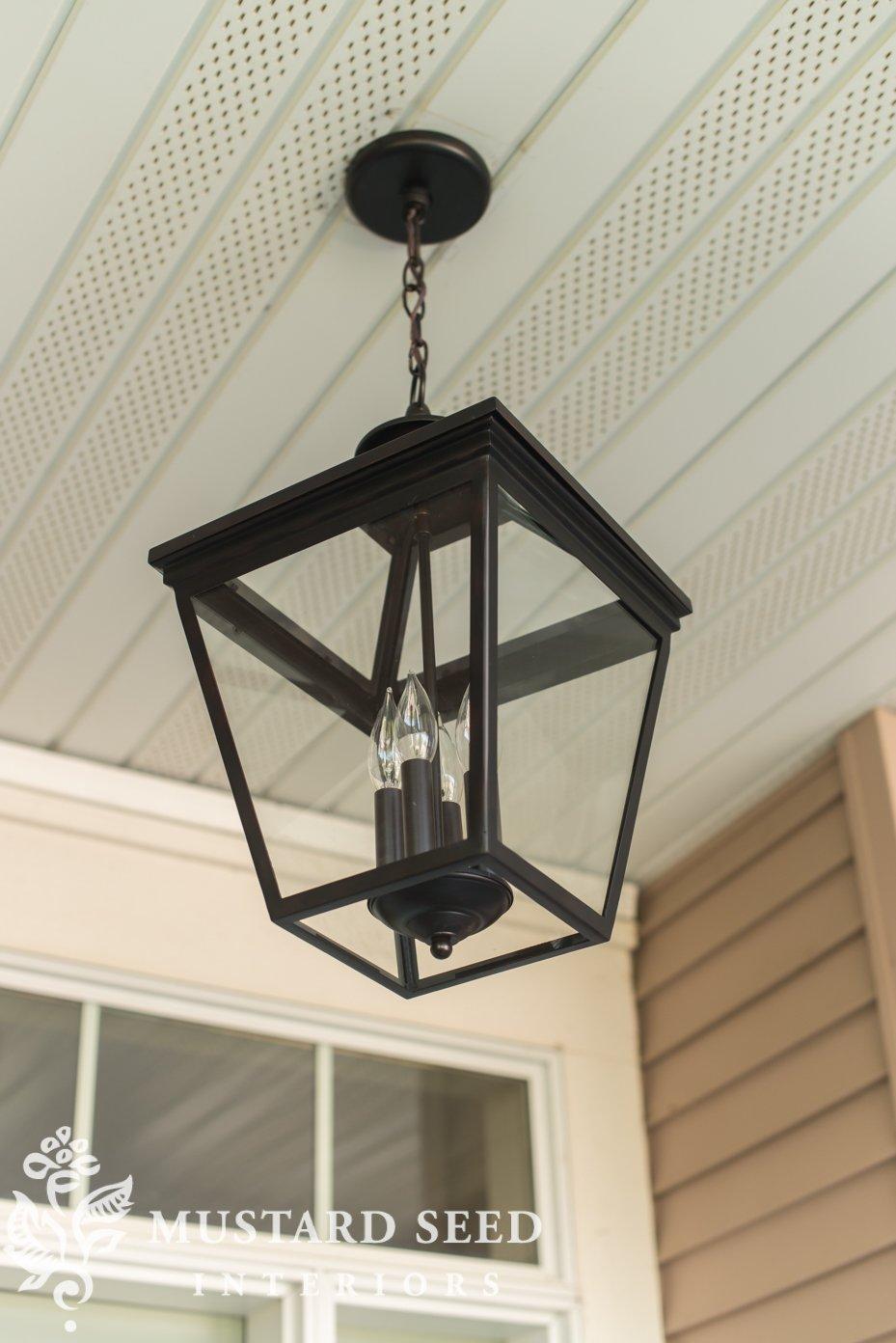 Lantern hanging light | decorating fall porch | missmustardseed.com
